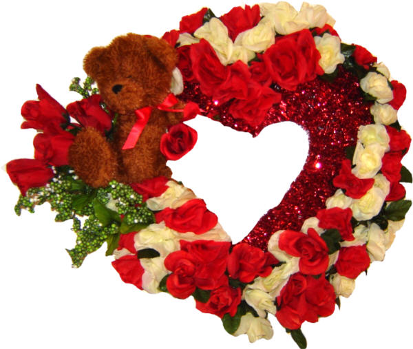 DECORATED Royal Valentine Bear Wreath