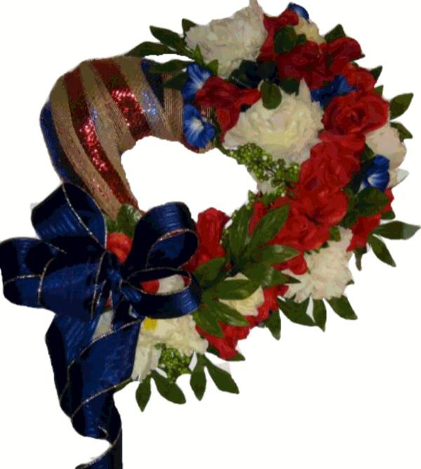 DECORATED Heroes Wreath, Patriotic wreath decoration